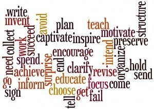 When writing, remember the verbs